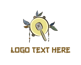 Instrument - Native Yellow Tambourine logo design