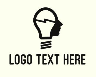 Lightening - Lamp Man logo design