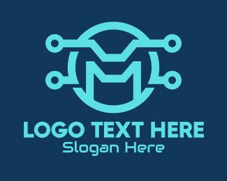 Digital Circuit - Digital Circuit Letter M logo design