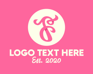 Typography - Pink Fancy Letter F logo design