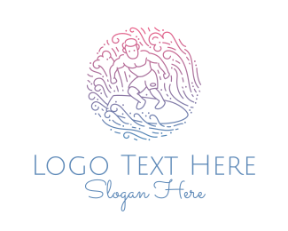 Sport - Wave Surfer Man  logo design