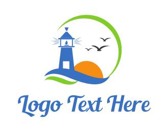 Seaside - Lighthouse Birds logo design