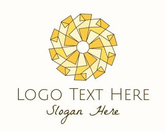 Xmas - Geometric Yellow Sun logo design