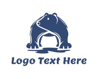 Frozen - Blue Polar Bear logo design