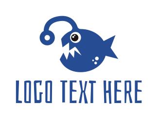 Oceanic - Blue Angler Fish logo design