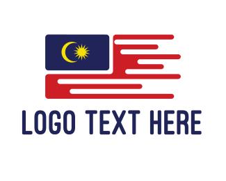 Nationality - Flying Malaysian Flag logo design