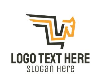 Mascot - Abstract Pegasus Letter V logo design