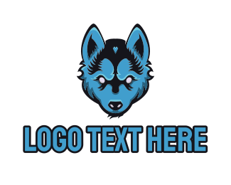 Blue Puppy - Blue Wolf logo design