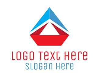Sailboat - Origami Sailboat logo design