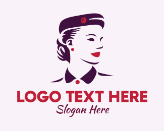 Flight Attendant - Vintage Woman Beauty logo design
