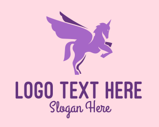 Hair Dye - Purple Flying Unicorn logo design