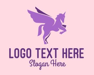 Fictional - Purple Flying Unicorn logo design