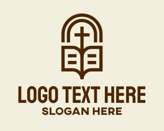 Church - Church Bible Cross logo design