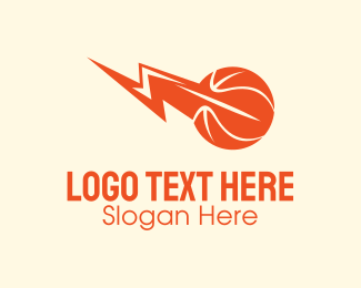Lightning - Orange Basketball Lightning logo design