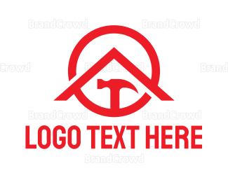 Carpenter - Red Circle Hammer House logo design
