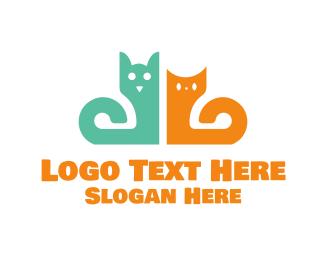 Curved - Dog & Cat logo design