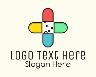 Hospital Care - Colorful Capsule Vitamins logo design
