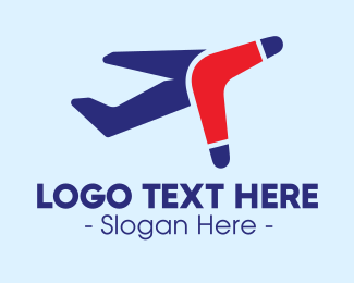 Boomerang - Boomerang Airplane Travel logo design