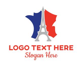 France Map - Eiffel France logo design