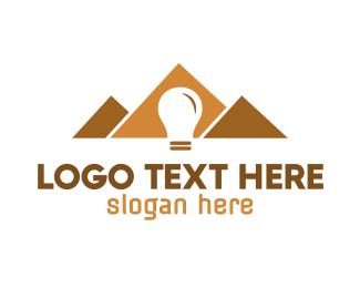 Archeology - Pyramid Bulb logo design