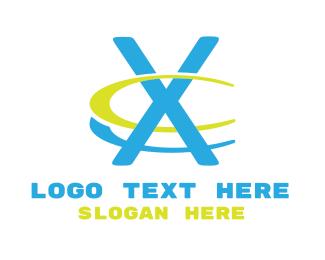 """Modern Blue Letter X"" by LogoBrainstorm"