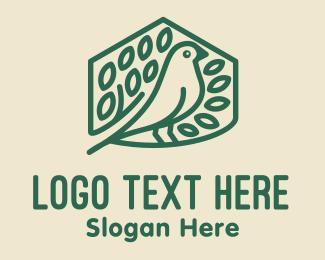 Goldcrest - Green Birdhouse Monoline logo design