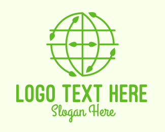 World - Green Nature Conservation Globe logo design