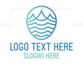 Resort - Gradient Wave Outline logo design