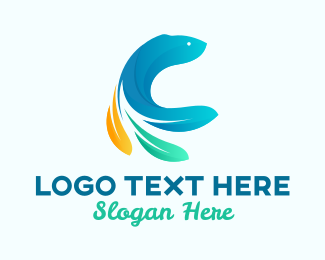 Feather - Feather Tail Fish logo design