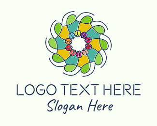 Flower Field - Ornamental Flower Stained Glass logo design