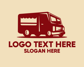 Mobile Restaurant - Red Food Stall Van logo design