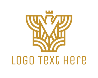 Royalty - Gold Eagle M logo design