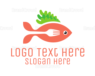 Dine - Fish & Fork logo design