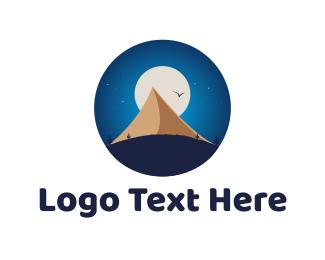 Outdoor - Moon & Pyramid logo design