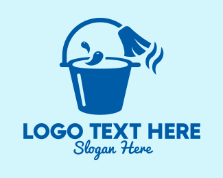 Bucket - Blue Mop Bucket  logo design