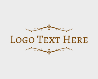 Chic - Brown Rustic Branches Text logo design