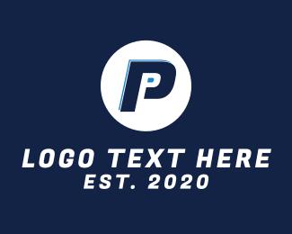 Autoparts - Blue Racing Letter P logo design