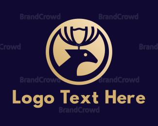Reindeer - Gold Crown Reindeer logo design
