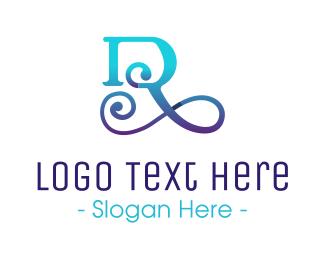 Classical - Blue Gradient Script Letter R logo design