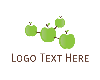 Green Apple - Apple Molecule logo design