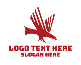 Red Hawk - Red Charging Eagle logo design