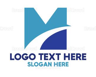 Car Rental - Blue Arch M logo design