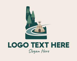 Tipi - Idaho Map Teepee Scene logo design