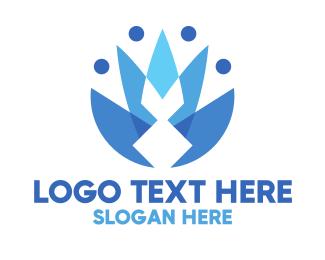 Blue Crown - Geometric Flower Crown logo design