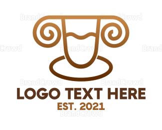 Sheep - Golden Ram Monogram logo design