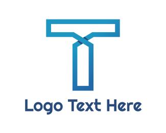 Mobile Service - Blue Line T logo design