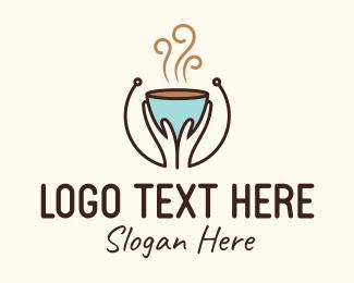 Hot Choco - Brewed Coffee Hands logo design