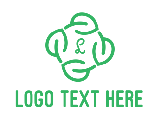 Recycling - Leaf Circle Lettermark logo design