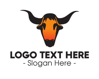 Green Bull - Texas Bull Skull logo design