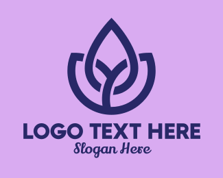 Three - Purple Flower Garden logo design